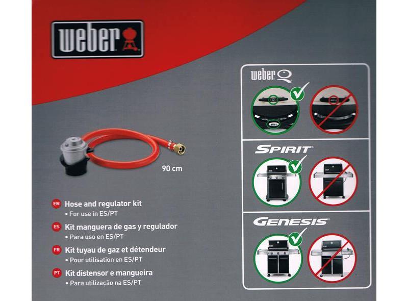 Adaptador Manguera larga y regulador de gas Weber